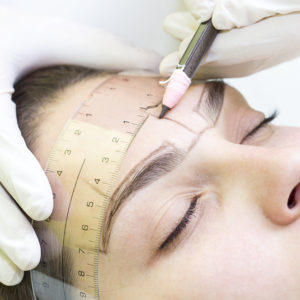 Lady Being Prepared For Semi Permenant Eyebrows